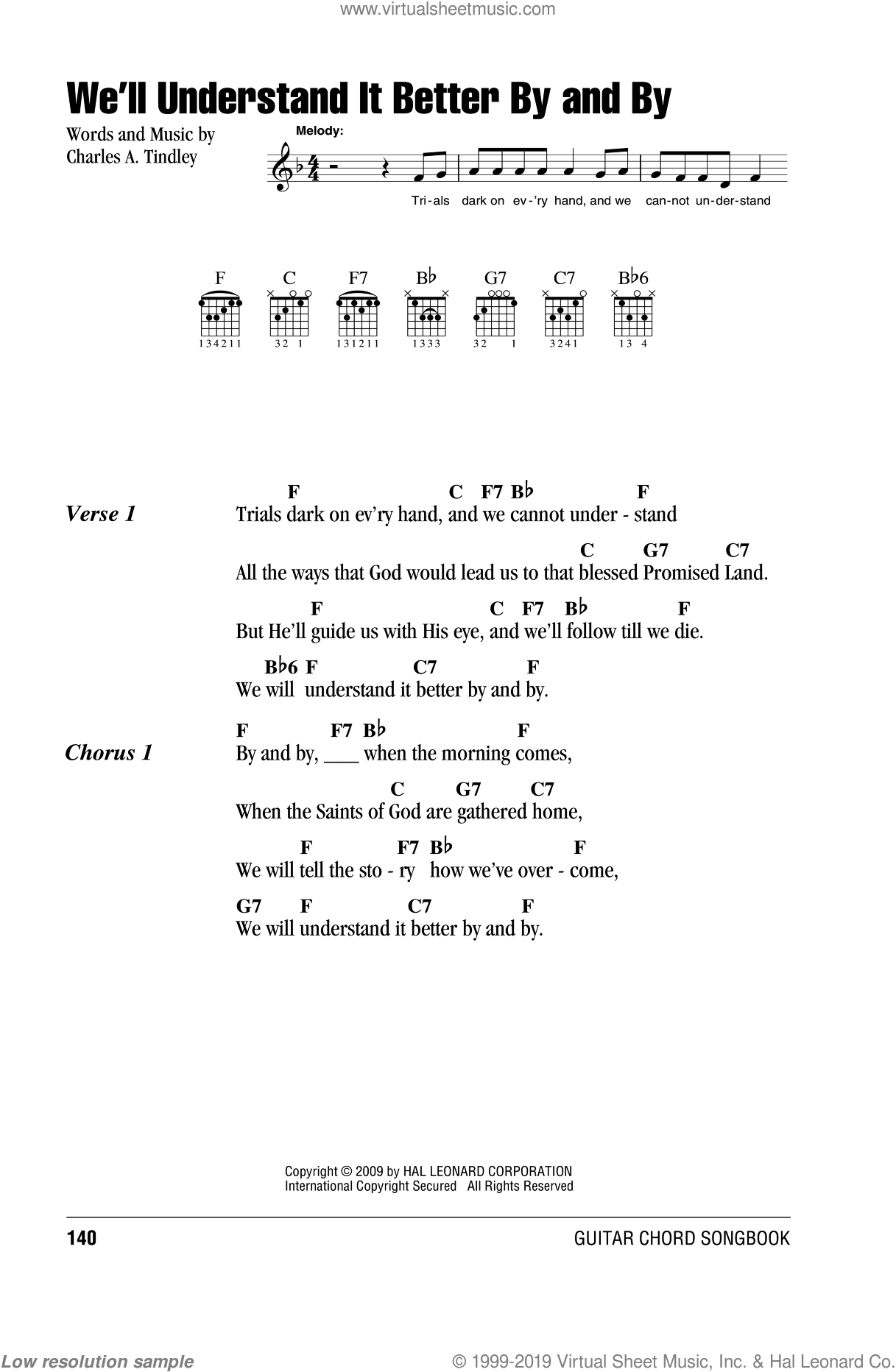 We'll Understand It Better By And By sheet music for guitar (chords) by Charles A. Tindley