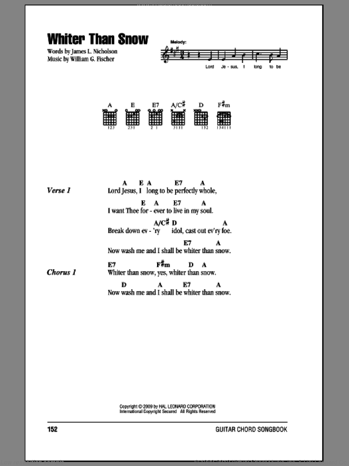 Whiter Than Snow sheet music for guitar (chords) by William G. Fischer