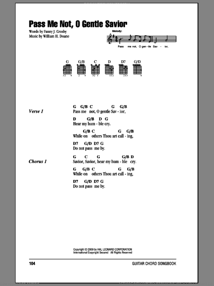 Pass Me Not, O Gentle Savior sheet music for guitar (chords) by Fanny J. Crosby and William H. Doane. Score Image Preview.