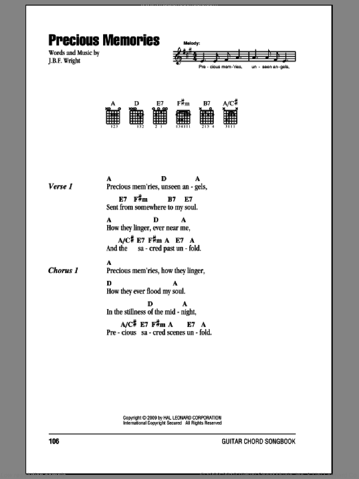 Precious Memories sheet music for guitar (chords) by J.B.F. Wright, intermediate guitar (chords). Score Image Preview.