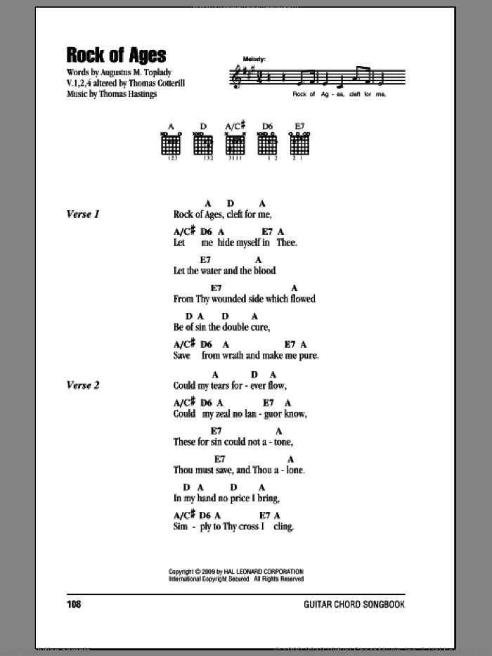 Rock Of Ages sheet music for guitar (chords) by Thomas Hastings and Augustus M. Toplady. Score Image Preview.