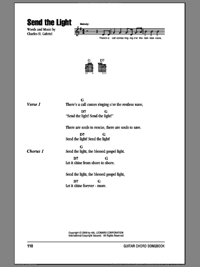 Send The Light sheet music for guitar (chords) by Charles H. Gabriel