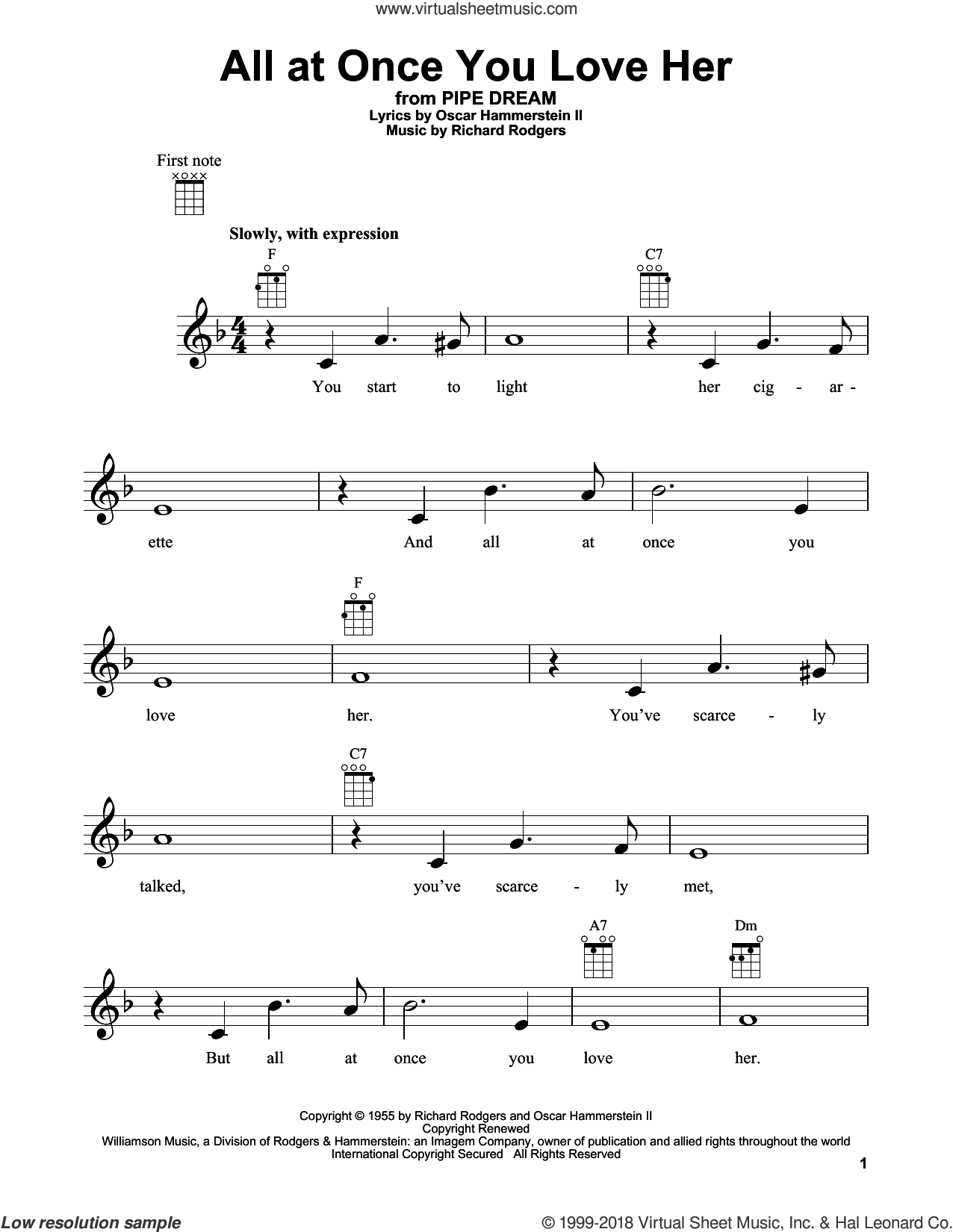 All At Once You Love Her sheet music for ukulele by Richard Rodgers, Perry Como, Rodgers & Hammerstein and Oscar II Hammerstein. Score Image Preview.