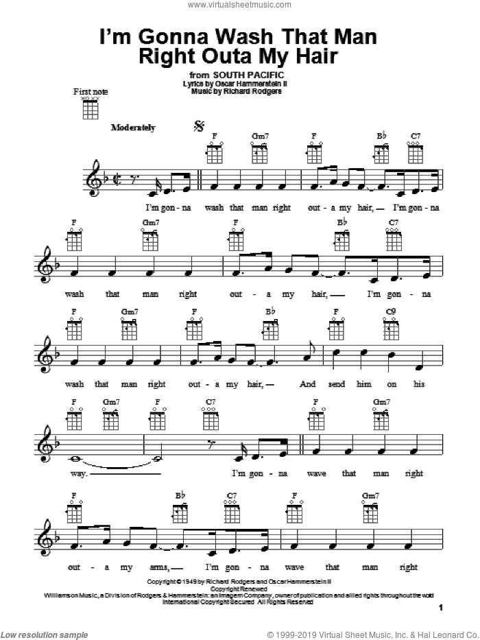 I'm Gonna Wash That Man Right Outa My Hair sheet music for ukulele by Rodgers & Hammerstein, South Pacific (Musical), Oscar II Hammerstein and Richard Rodgers, intermediate skill level