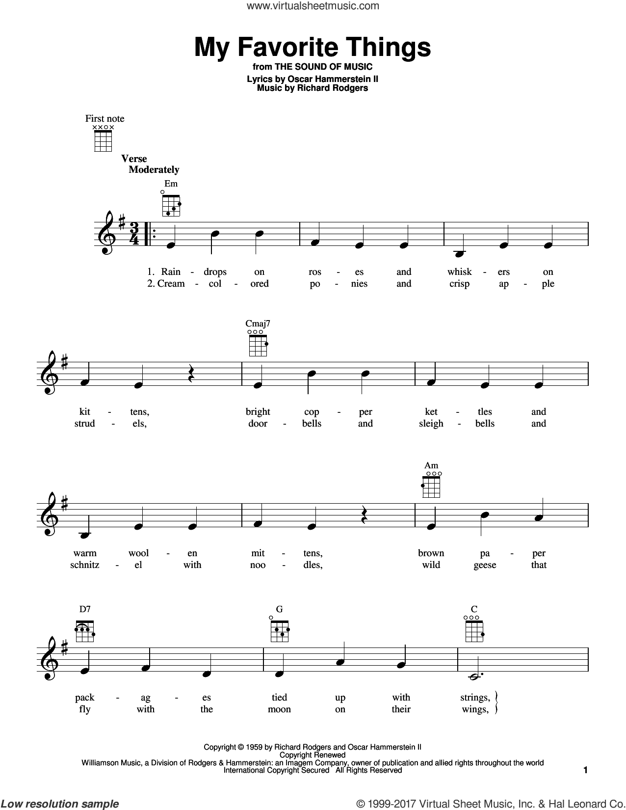 My Favorite Things sheet music for ukulele by Rodgers & Hammerstein, The Sound Of Music (Musical), Oscar II Hammerstein and Richard Rodgers, intermediate skill level