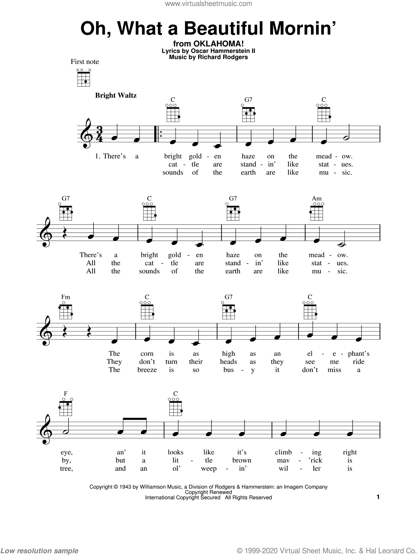 Oh, What A Beautiful Mornin' (from Oklahoma!) sheet music for ukulele by Rodgers & Hammerstein, Oklahoma! (Musical), Oscar II Hammerstein and Richard Rodgers, intermediate skill level