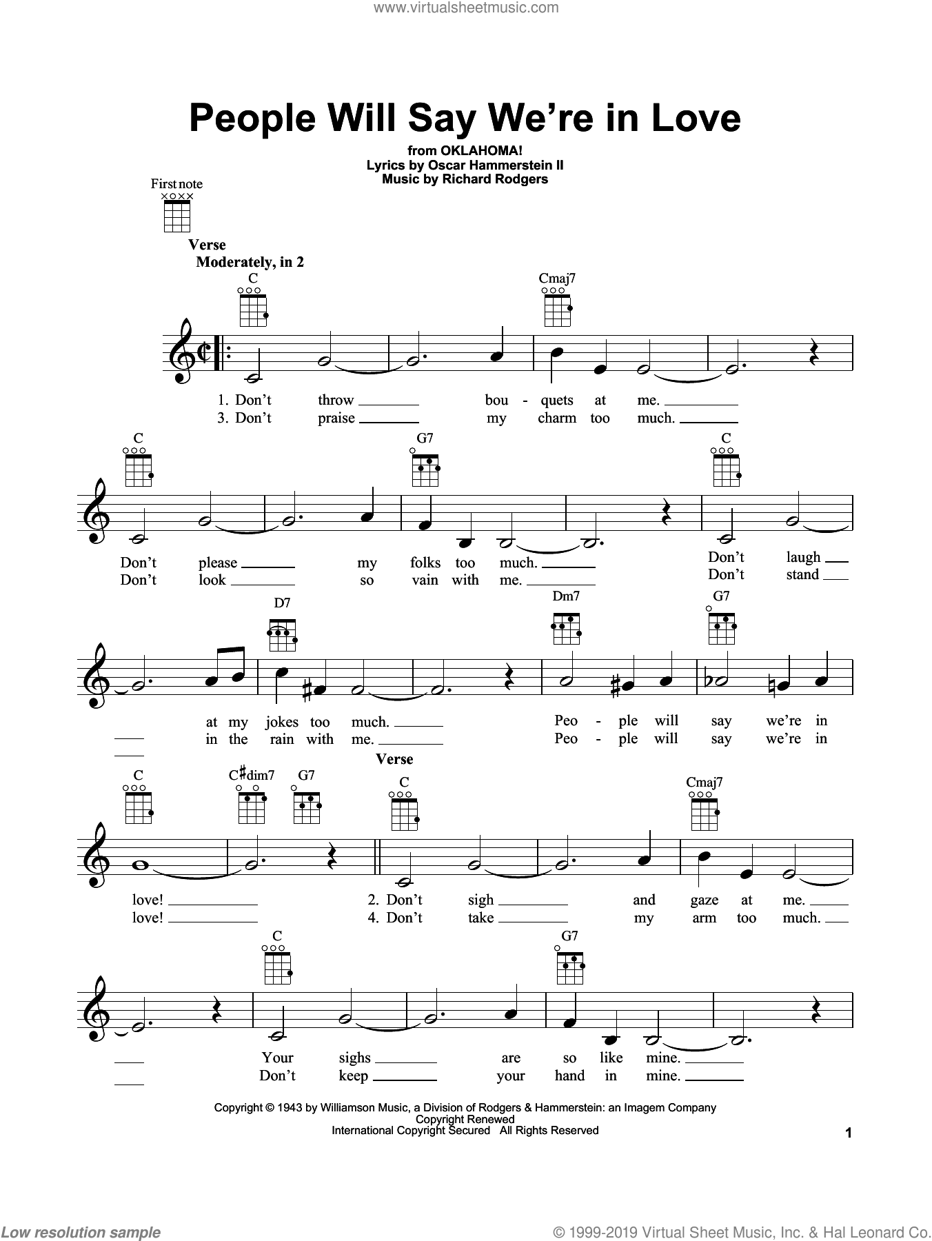 People Will Say We're In Love sheet music for ukulele by Rodgers & Hammerstein, Oklahoma! (Musical), Oscar II Hammerstein and Richard Rodgers, intermediate skill level