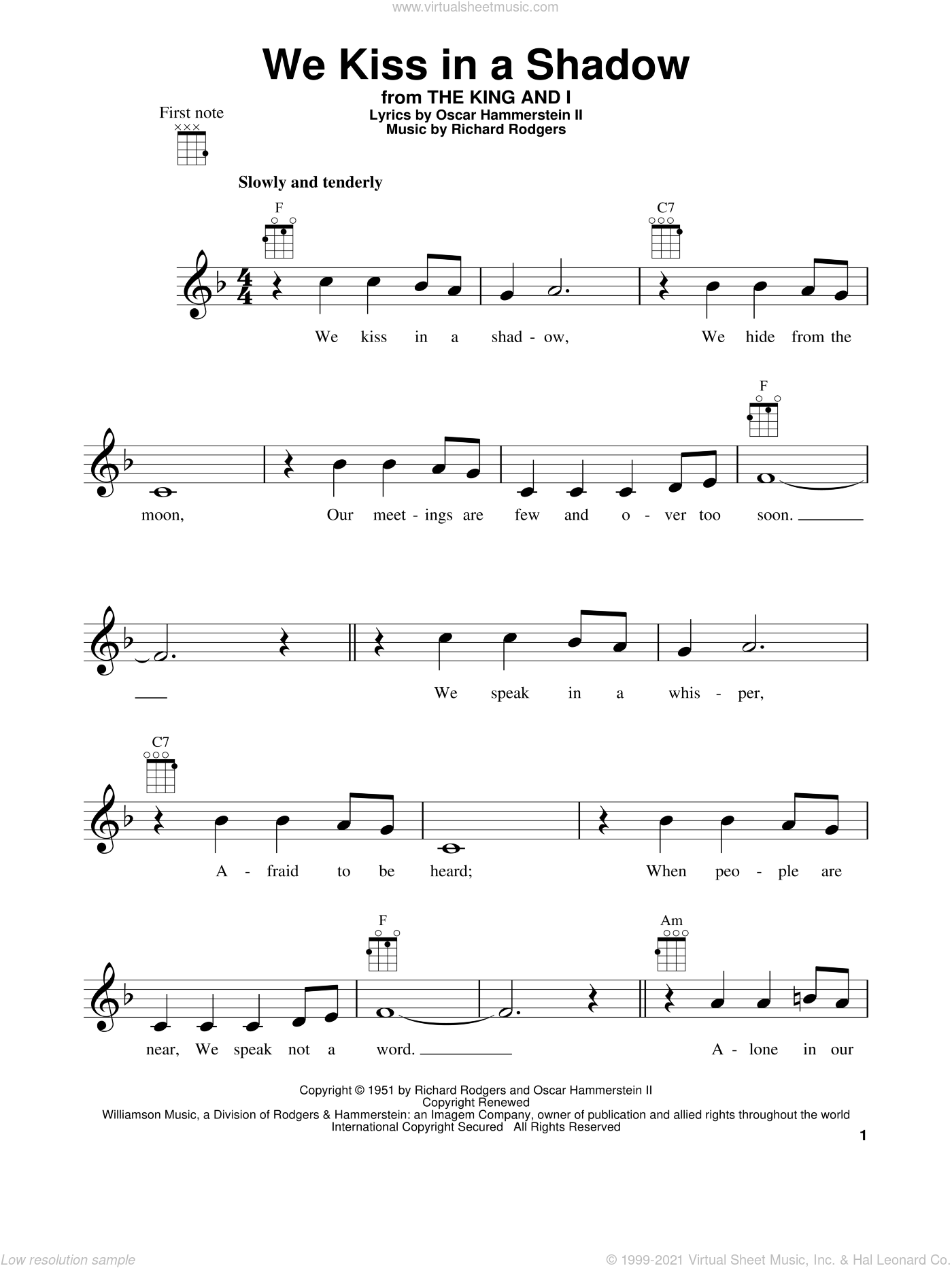 We Kiss In A Shadow sheet music for ukulele by Rodgers & Hammerstein, The King And I (Musical), Oscar II Hammerstein and Richard Rodgers, intermediate skill level
