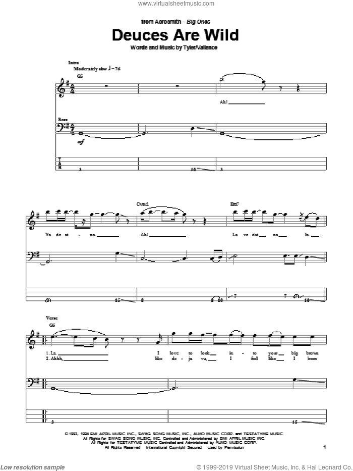 Deuces Are Wild sheet music for bass (tablature) (bass guitar) by Steven Tyler, Aerosmith and Jim Vallance. Score Image Preview.