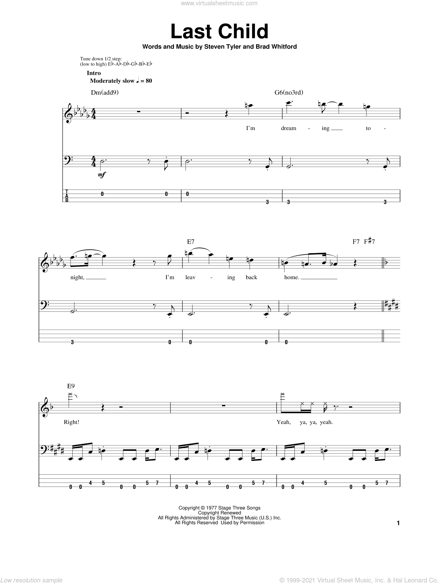 Last Child sheet music for bass (tablature) (bass guitar) by Aerosmith. Score Image Preview.