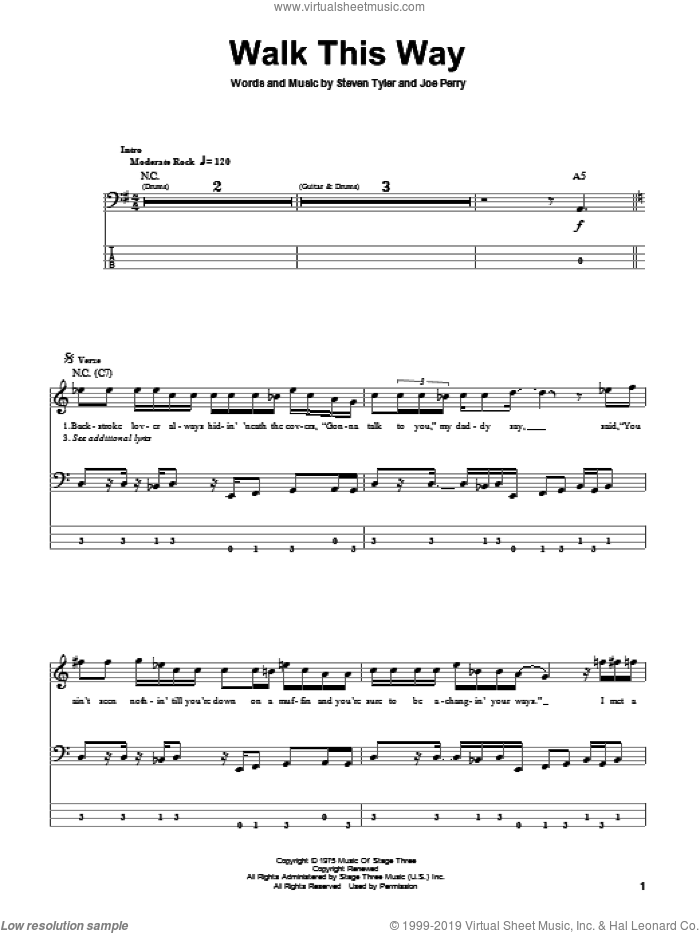 Walk This Way sheet music for bass (tablature) (bass guitar) by Aerosmith, Run D.M.C., Joe Perry and Steven Tyler, intermediate. Score Image Preview.