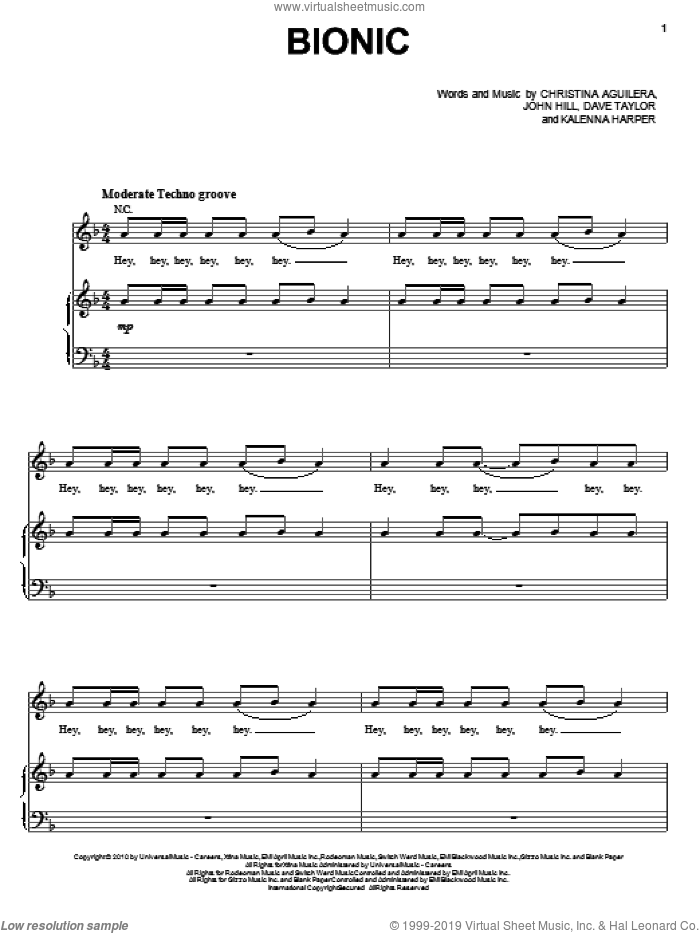 Bionic sheet music for voice, piano or guitar by Christina Aguilera, Dave Taylor, John Hill and Kalenna Harper, intermediate skill level