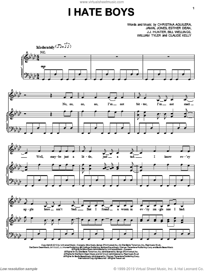 I Hate Boys sheet music for voice, piano or guitar by William Tyler, Christina Aguilera, Claude Kelly, Ester Dean and Jamal Jones. Score Image Preview.
