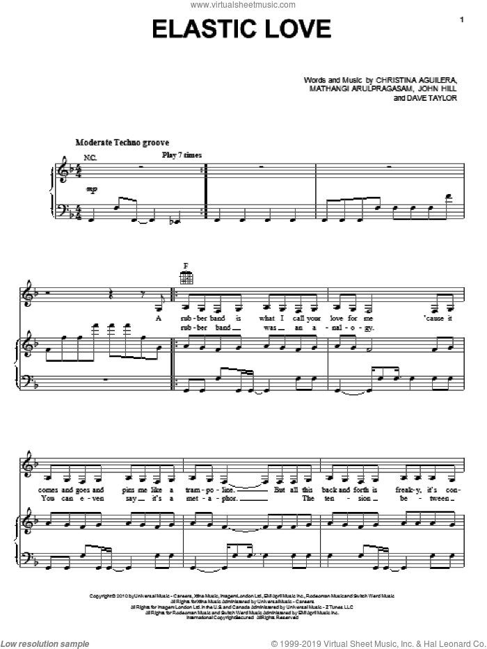 Elastic Love sheet music for voice, piano or guitar by Mathangi Arulpragasam, Christina Aguilera and John Hill. Score Image Preview.