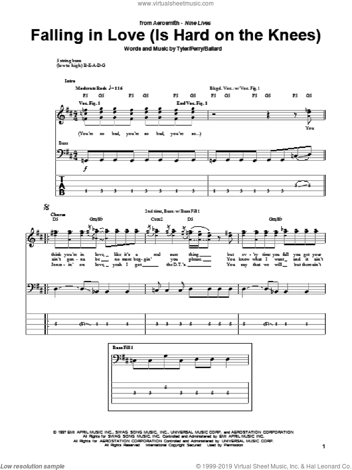 Falling In Love (Is Hard On The Knees) sheet music for bass (tablature) (bass guitar) by Aerosmith, Glen Ballard, Joe Perry and Steven Tyler, intermediate skill level