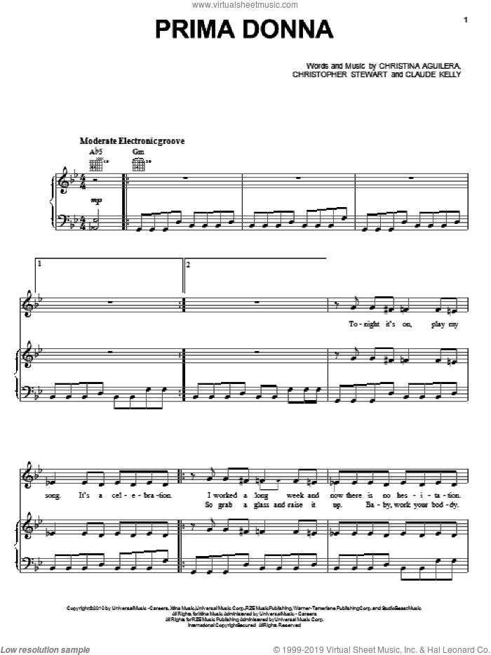 Prima Donna sheet music for voice, piano or guitar by Christina Aguilera, Christopher Stewart and Claude Kelly, intermediate skill level