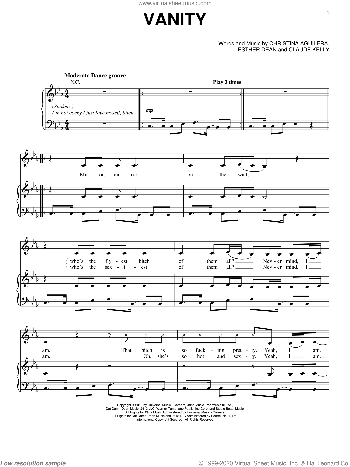 Vanity sheet music for voice, piano or guitar by Ester Dean, Christina Aguilera and Claude Kelly. Score Image Preview.