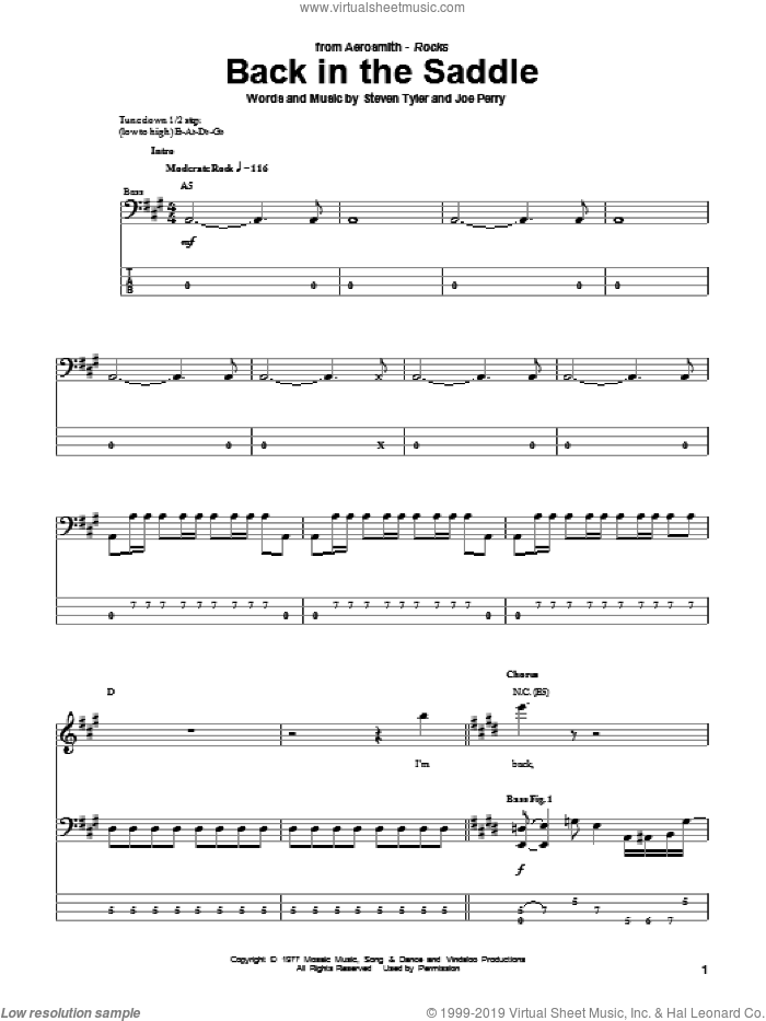 Back In The Saddle sheet music for bass (tablature) (bass guitar) by Steven Tyler, Aerosmith and Joe Perry. Score Image Preview.