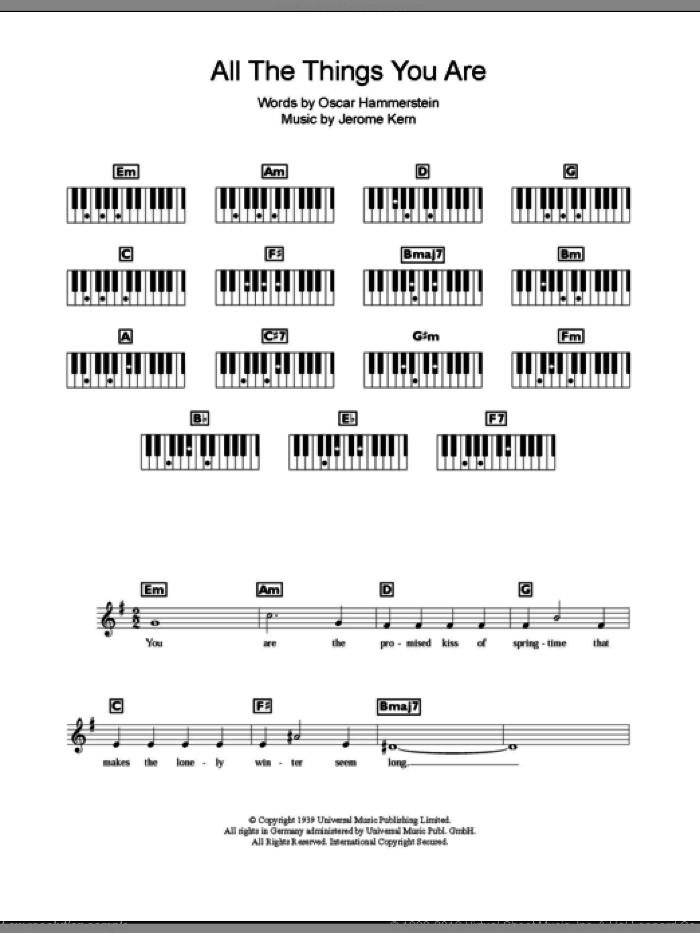 All The Things You Are sheet music for piano solo (chords, lyrics, melody) by Oscar Hammerstein and Jerome Kern. Score Image Preview.