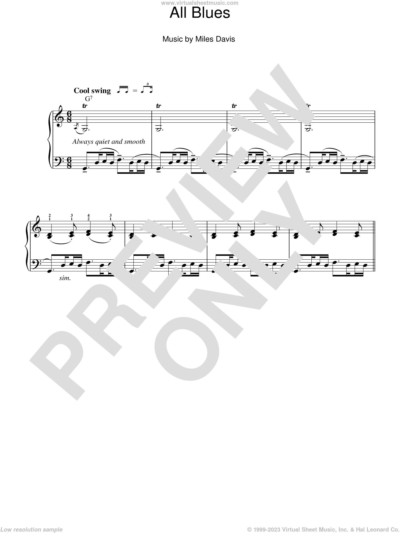 All Blues sheet music for piano solo by Miles Davis, intermediate skill level