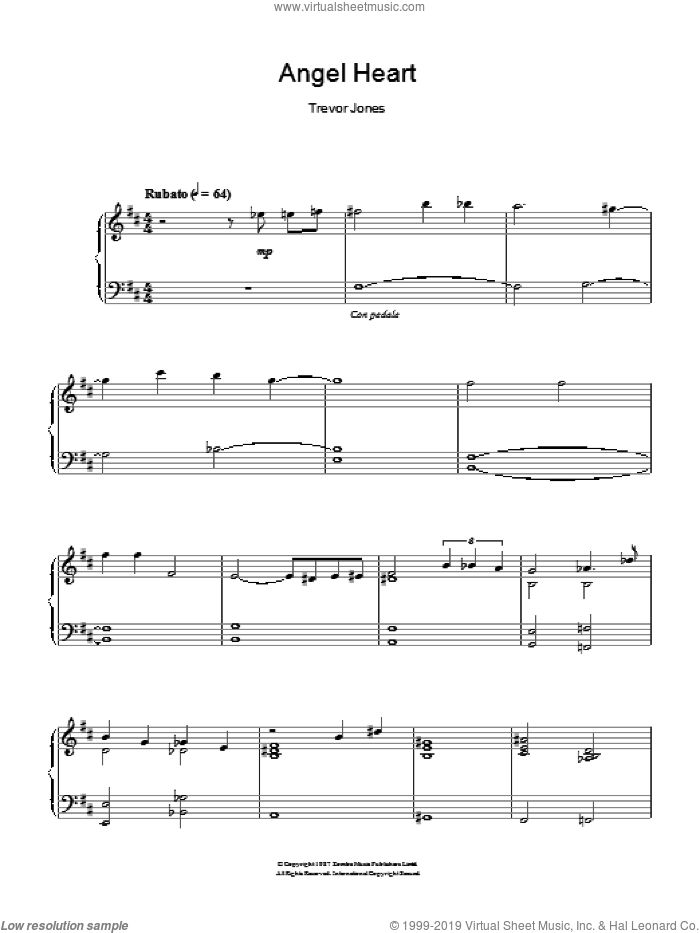Angel Heart (Looking For Johnny/Johnny Favourite) sheet music for piano solo by Trevor Jones, intermediate skill level