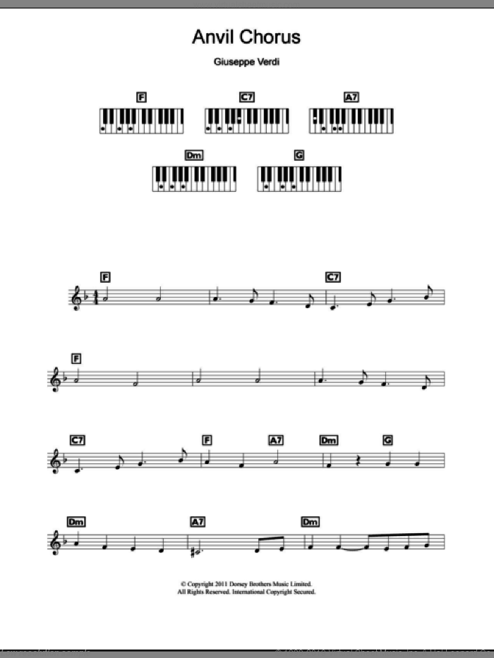 Anvil Chorus sheet music for piano solo (chords, lyrics, melody) by Giuseppe Verdi, classical score, intermediate piano (chords, lyrics, melody)