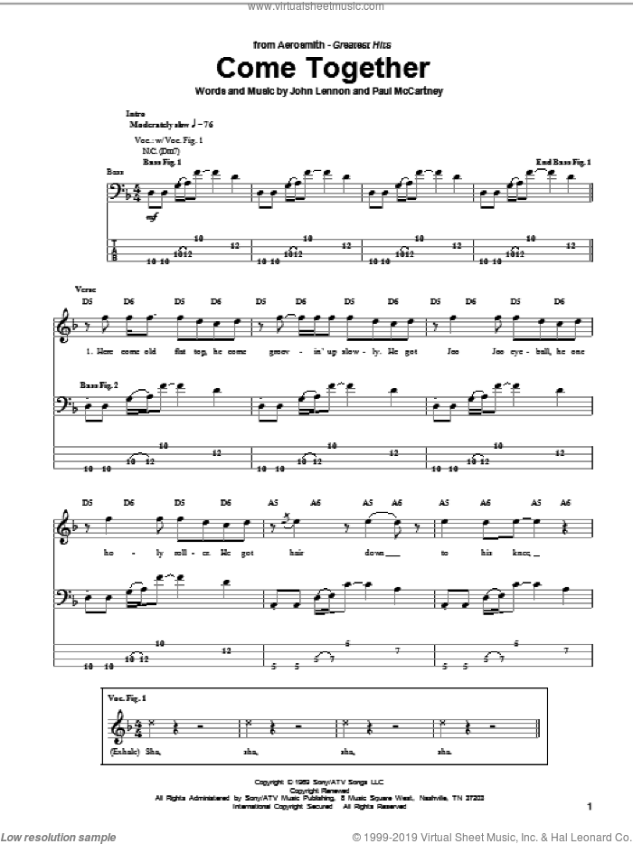 Come Together sheet music for bass (tablature) (bass guitar) by Aerosmith, The Beatles, John Lennon and Paul McCartney. Score Image Preview.
