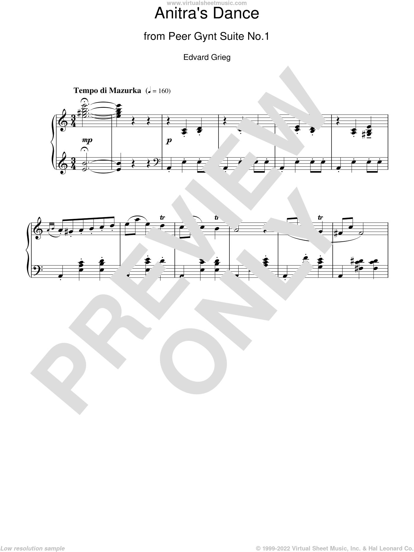 Anitra's Dance sheet music for piano solo by Edward Grieg. Score Image Preview.