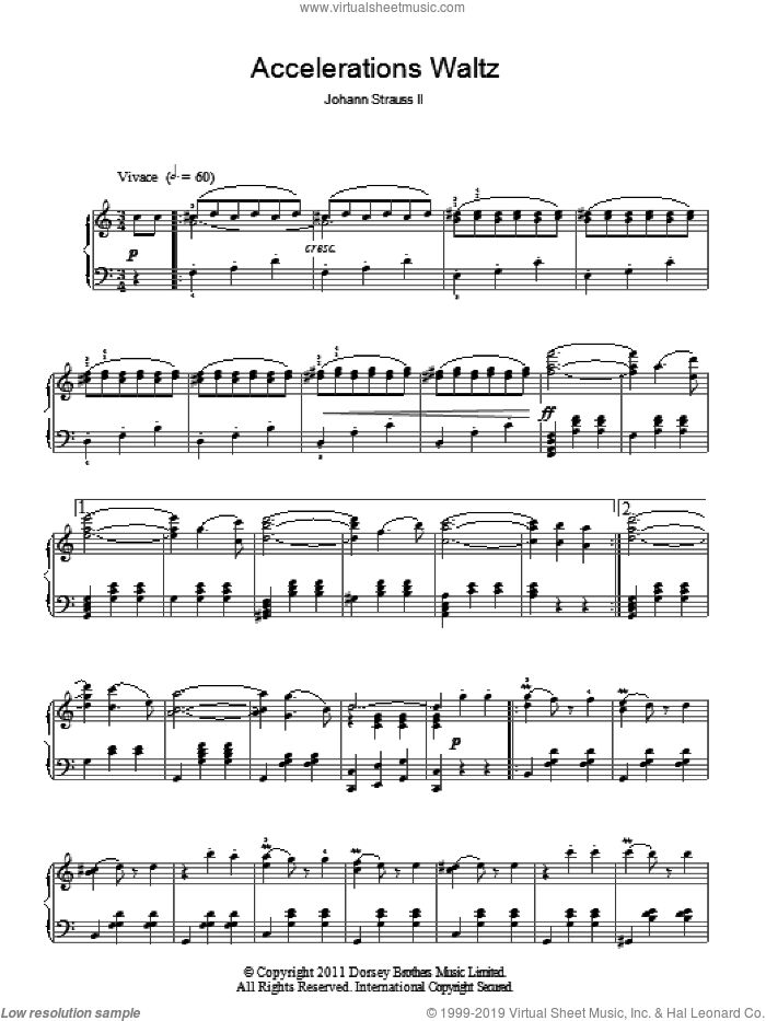 Accelerations Waltz, Op. 234 sheet music for piano solo by Johann Strauss, Jr., classical score, intermediate skill level