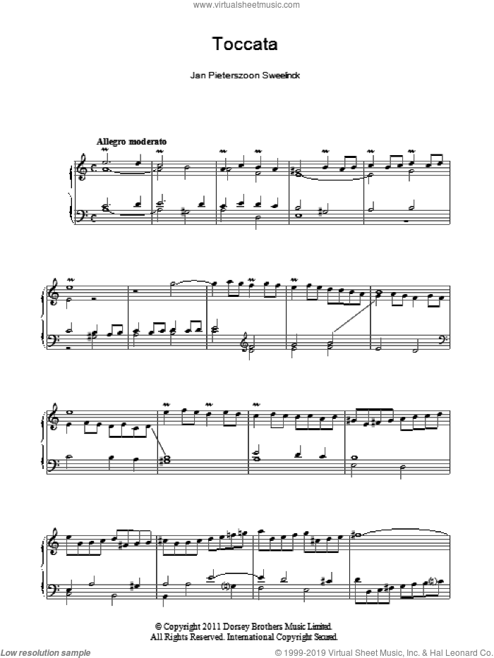 Toccata sheet music for piano solo by Jan Pieterszoon Sweelinck