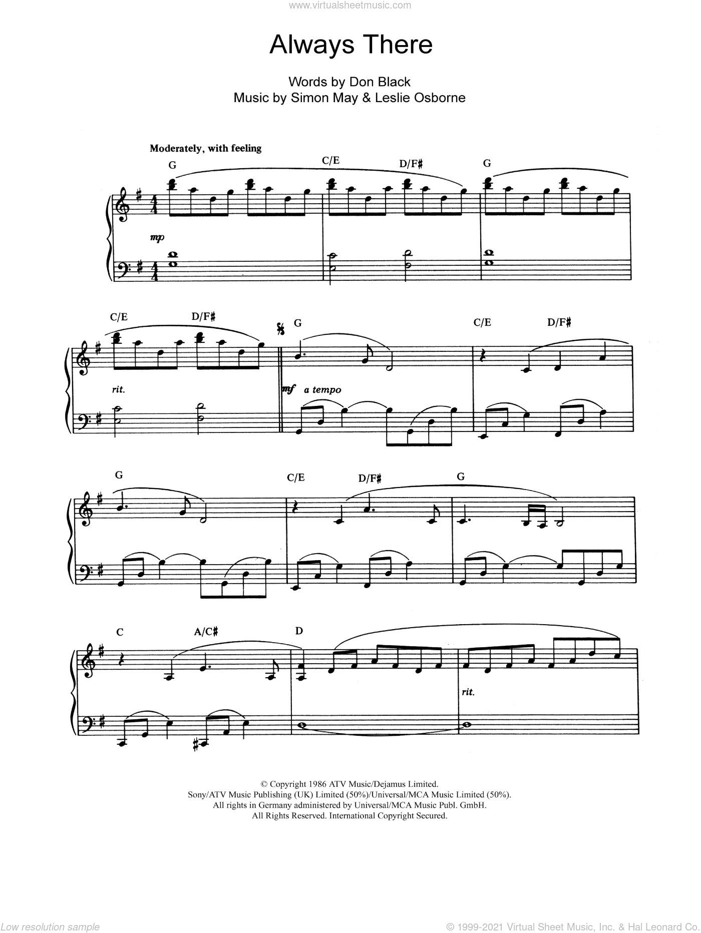 Always There sheet music for piano solo by Simon May, Don Black and Leslie Osborne. Score Image Preview.