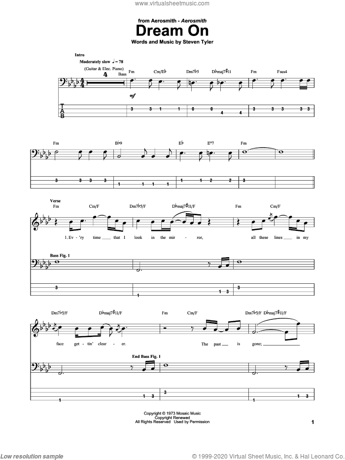 Dream On sheet music for bass (tablature) (bass guitar) by Steven Tyler and Aerosmith. Score Image Preview.
