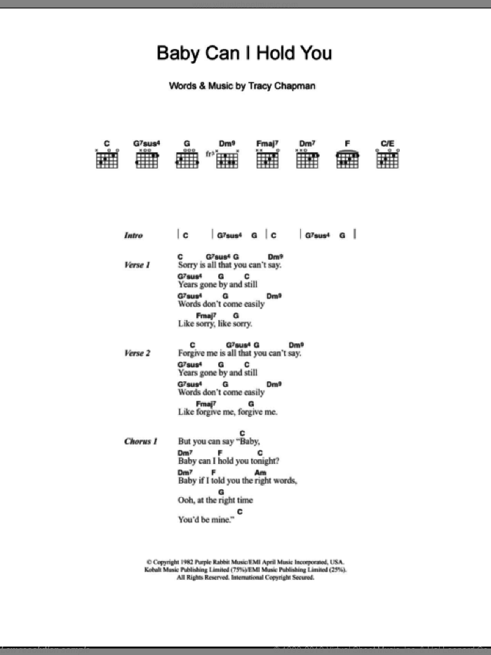 Baby Can I Hold You sheet music for guitar (chords) by Boyzone and Tracy Chapman. Score Image Preview.
