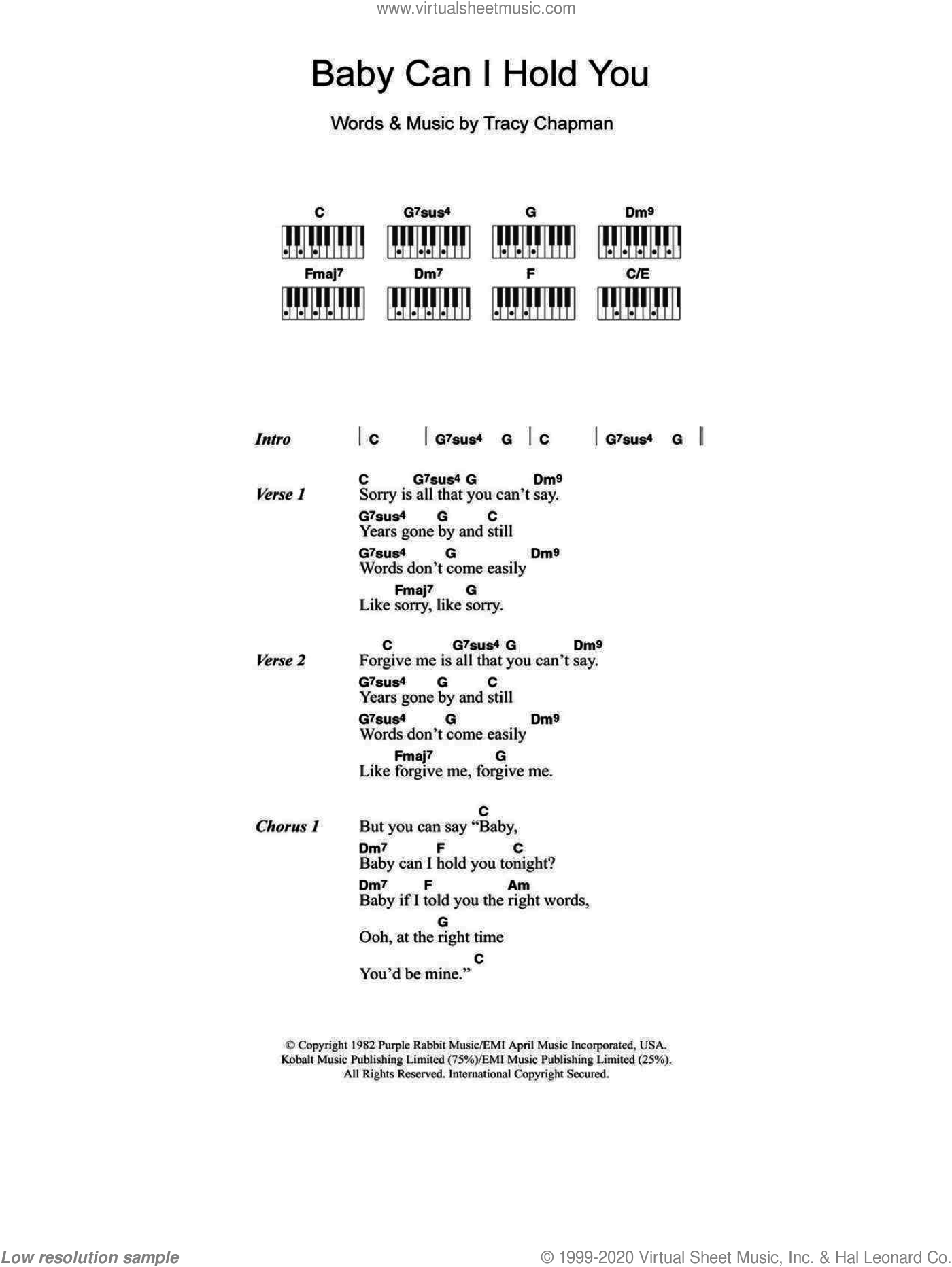 Baby Can I Hold You sheet music for piano solo (chords, lyrics, melody) by Tracy Chapman and Boyzone. Score Image Preview.