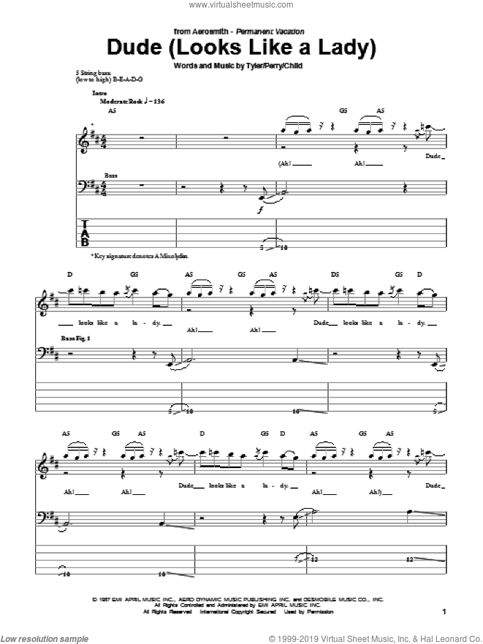 Dude (Looks Like A Lady) sheet music for bass (tablature) (bass guitar) by Steven Tyler, Aerosmith, Desmond Child and Joe Perry. Score Image Preview.