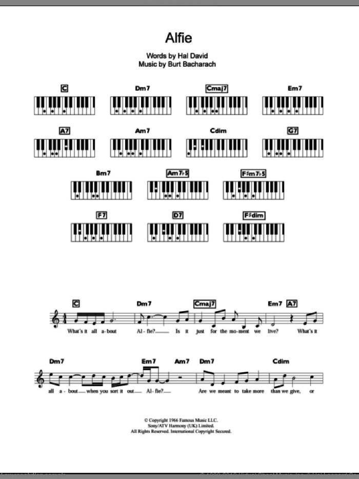 Alfie sheet music for piano solo (chords, lyrics, melody) by Hal David and Burt Bacharach. Score Image Preview.