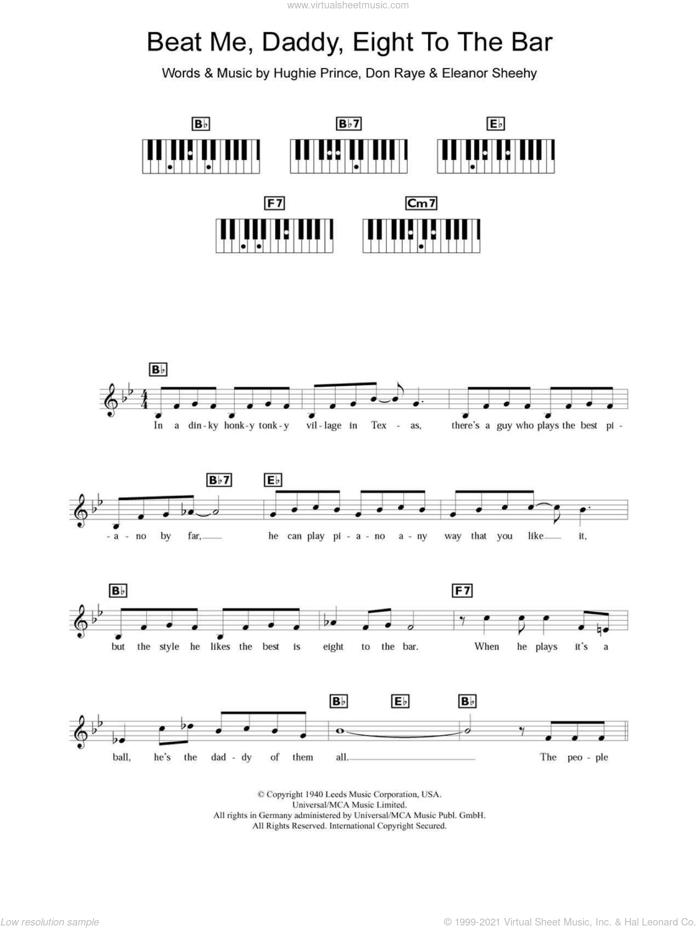 Beat Me Daddy, Eight To The Bar sheet music for piano solo (chords, lyrics, melody) by Hughie Prince, The Andrews Sisters and Don Raye. Score Image Preview.