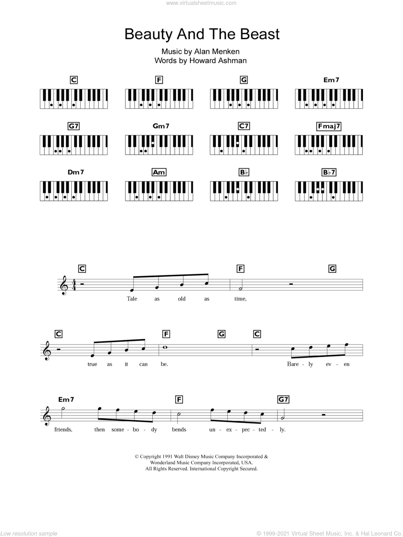 Beauty And The Beast sheet music for piano solo (chords, lyrics, melody) by Alan Menken and Howard Ashman, intermediate piano (chords, lyrics, melody). Score Image Preview.