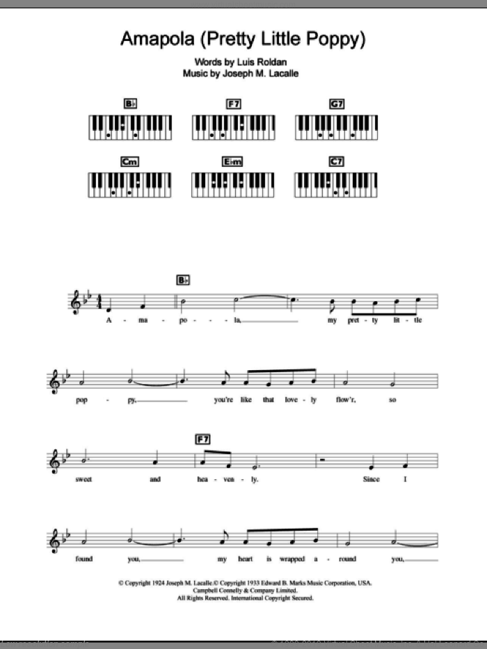 Amapola (Pretty Little Poppy) sheet music for piano solo (chords, lyrics, melody) by Luis Roldan. Score Image Preview.