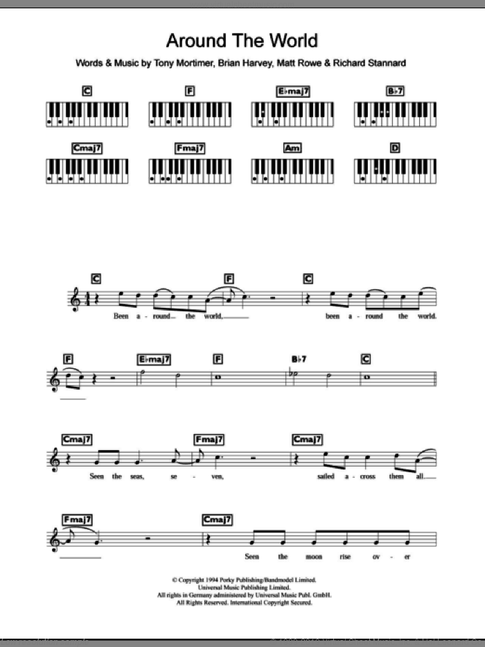 Around The World sheet music for piano solo (chords, lyrics, melody) by Tony Mortimer