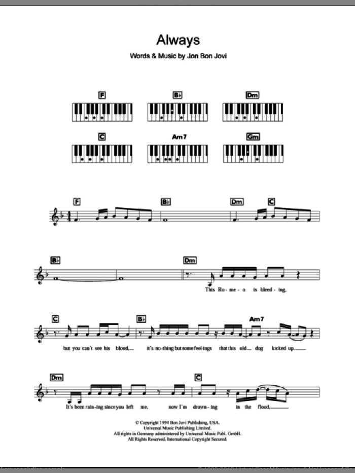 Always sheet music for piano solo (chords, lyrics, melody) by Bon Jovi