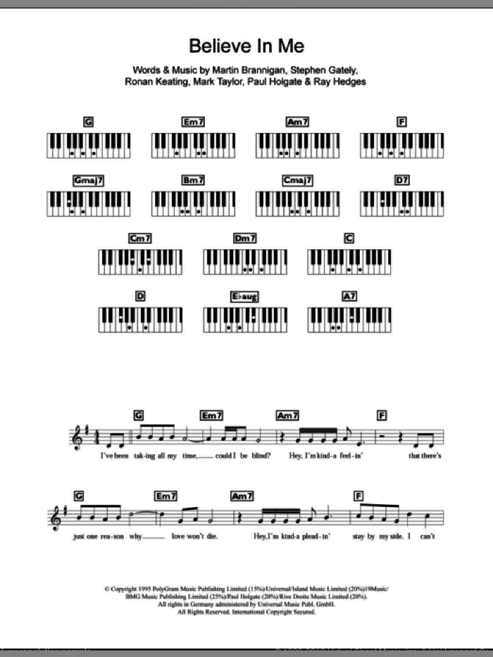 Believe In Me sheet music for piano solo (chords, lyrics, melody) by Boyzone, Mark Taylor, Ronan Keating and Stephen Gately, intermediate piano (chords, lyrics, melody). Score Image Preview.