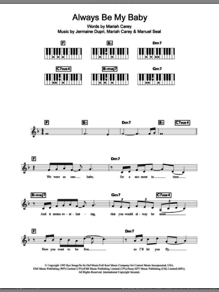 Always Be My Baby sheet music for piano solo (chords, lyrics, melody) by Manuel Seal, Jermaine Dupri and Mariah Carey