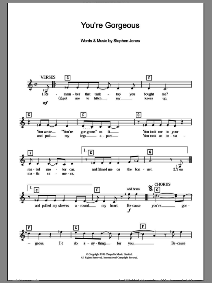 You're Gorgeous sheet music for piano solo (chords, lyrics, melody) by Steve Jones. Score Image Preview.