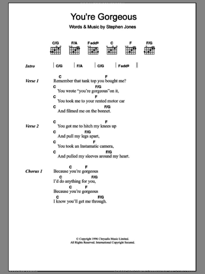 You're Gorgeous sheet music for guitar (chords) by Steve Jones