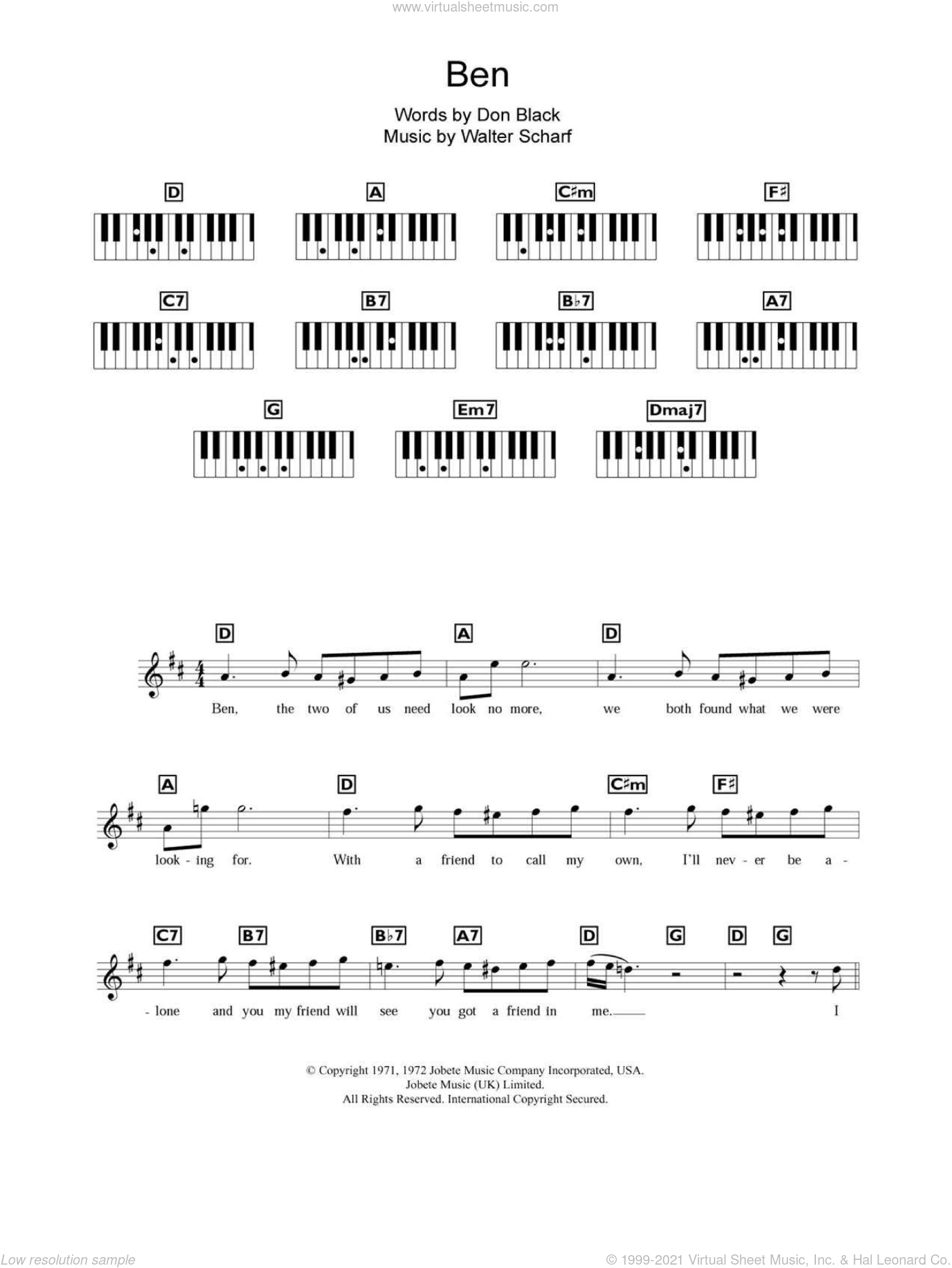 Ben sheet music for piano solo (chords, lyrics, melody) by Michael Jackson, Boyzone, Don Black and Walter Scharf, intermediate piano (chords, lyrics, melody)