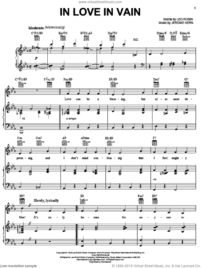 In Love In Vain sheet music for voice, piano or guitar by Jerome Kern, Mildred Bailey and Leo Robin, intermediate skill level