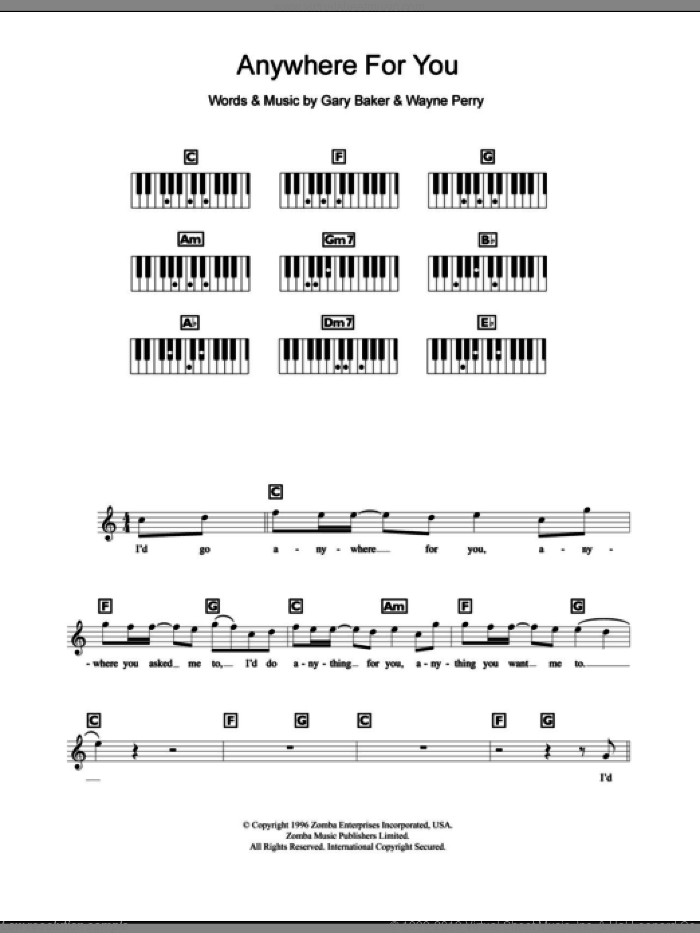 Anywhere For You sheet music for piano solo (chords, lyrics, melody) by Backstreet Boys, Gary Baker and Wayne Perry, intermediate piano (chords, lyrics, melody)