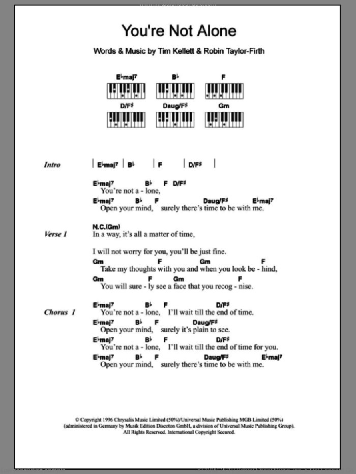 You're Not Alone sheet music for piano solo (chords, lyrics, melody) by Olive, intermediate piano (chords, lyrics, melody). Score Image Preview.