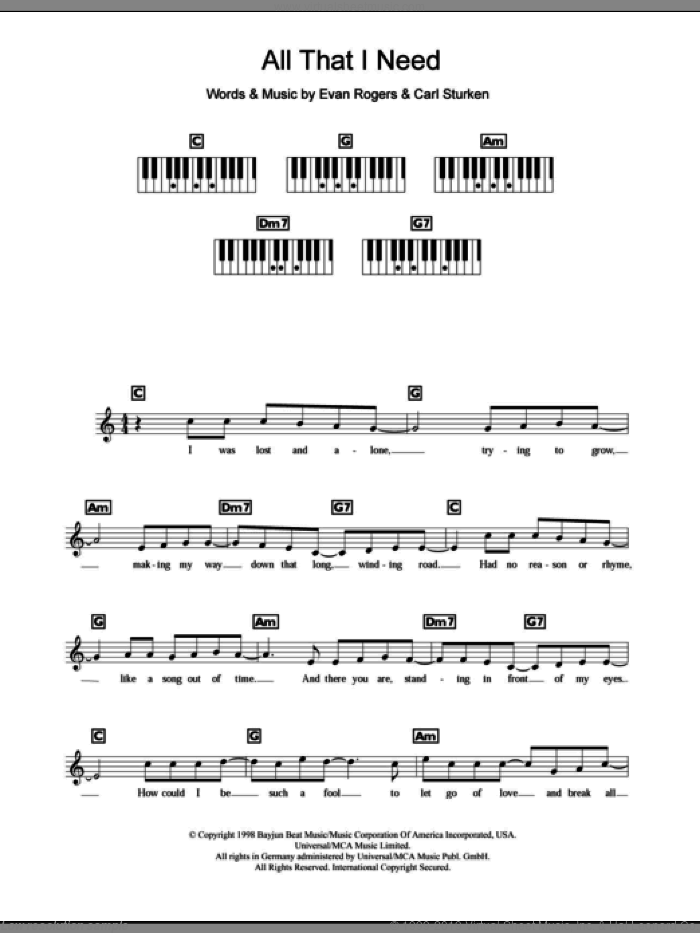 All That I Need sheet music for piano solo (chords, lyrics, melody) by Boyzone, intermediate piano (chords, lyrics, melody). Score Image Preview.